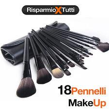 Offerta Set Professionale 18 Pennelli Make up Trucco + Custodia di Pelle Kit