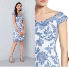 NEW TADASHI SHOJI Blue White Floral Embroidered Lace Stretch Sheath Dress 12P