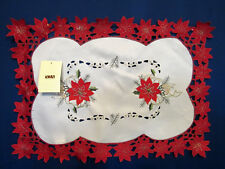XIA New Christmas Red Poinsettia Cut Work Holiday Embroidered Dining Place Mats