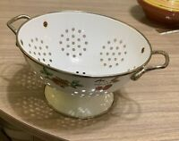 "VTG White 8.5"" D Footed Enamel Metal Colander Brass Handles, Fruit Trim"