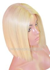 "Light Blonde Wig 60 613 Remy Human Hair Glueless Front Lace 10"" Short Bob Moklox"