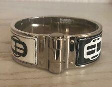 Authentic Hermes Enamel Charniere Bracelet Bouclerie Moderne Black White PM SAVE