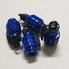 4 Pcs BLUE Grenade Bomb Exterior Wheel Tyre Tire Valve Stems Air Dust Cover Caps