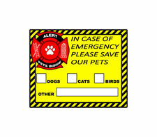 Pet Alert Safety Fire Rescue Sticker Save Our Pets Emergency Pet Inside 6 Decals