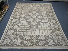 "VINTAGE TAN LACE TABLECLOTH with GRAPES & GRAPE LEAF 64"" X 91"" ~ LOVELY!"