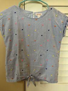 Cat & Jack Girls Blue Shirt w/ Hearts size m (7-8)