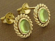 E078- BEAUTIFUL 9ct SOLID Gold Natural Peridot STUD Earrings matching Rope Bead