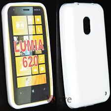Cover Custodia Per Nokia Lumia 620 Silicone Gel TPU Bianco + Pellicola Display
