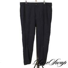 Ralph Lauren Black Label Solid Navy Blue 100% Linen Flat Front Pants Trousers 36