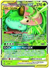 1 x Pokemon Venusaur & Snivy Tag Team GX - 1/236 - Ultra Rare Sun & Moon - Cosmi