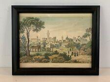 """Vintage """"Siena"""" Italian Landscape Colored Engraving Framed"""