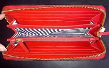 NWT AUTHENTIC KATE SPADE SIGNATURE ZIG ZAG LEATHER ZIP AROUND WALLET - RED