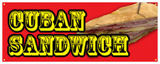 Cuban Sandwich Banner Hot Fresh Bread Meat Concession Stand Sign 36x96