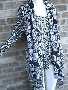 Women's Alberto Makali Black & white Lace 2 Pc Top / Blouse US sz L