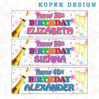 2 x Personalised Champagne Birthday Party Banners Any name/age 18th 21st 30th