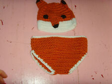Vguc 0-9 mo Nwot Fox fall baby infant girl boy diaper cover and hat set pictures