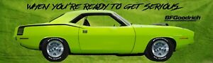 REPRODUCTION BF Goodrich Green Hemi Cuda Banner.  13oz Vinyl  2 Sizes Availab