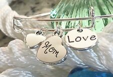 Mom with Heart for Mothers Day bright Silver charm Expandable Bangle Bracelet