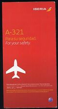 IBERIA Airbus A 321 SAFETY CARD airline brochure sc681 ax