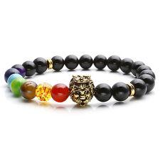 8mm Natur 7 Chakara Edelsteine Rund Beads +Löwe Achat Stretch Armband Armkette