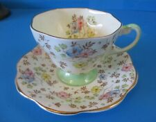 FOLEY CUP & SAUCER LIGHT YELLOW CHINTZ STYLE PINK YELLOW BLUE FLOWERS GREEN FOOT