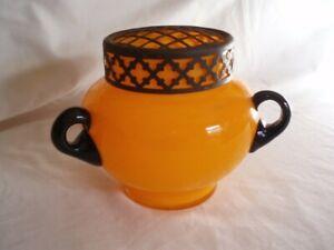 LOVELY VINTAGE ART DECO CZECH/BOHEMIAN TANGO ART GLASS ORANGE+BLACK VASE