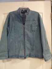 Christine Alexander womens denim jacket with crystal zipper, size XL