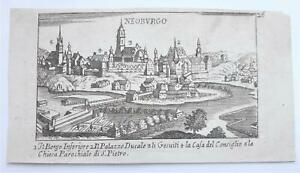 Stampa antica Old print Acquaforte Neoburgo by C.Laurentio ed. P. Malatesta 1685