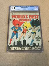 New ListingWorld's Best Comics 1 Cgc 3.5 w/ Rare White Pages (Batman-Superman 1941) +magnet