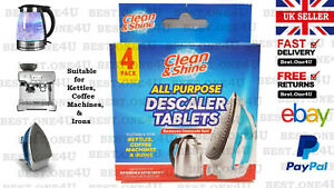 LIMESCALE DESCALER TABLETS CLEANING *COFFEE MACHINE* KETTLE* IRON* **UK SELLER**