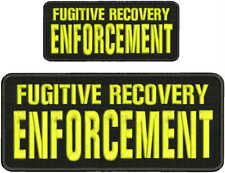 Fugitive Recovery Enforcement embroidery patches 4x10 and 2.5x6 hook yellow