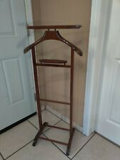 Antique Butler Stand Clothes Suit Rack Spqr Made In Italy Vintage Cherry Wood