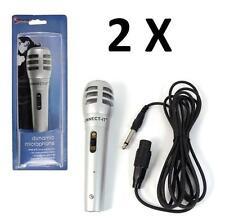 2x Wired Dynamic DJ PA MICROFONO Vocal Karaoke Microfono Argento con circa 3M Cavo