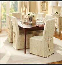 """Dining Room Chair Cover Champagne Natural Sure Fit armless up to 42"""" tall NIP KK"""