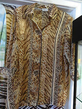 BON WORTH Bonworth Blouse Top Size Small Brown Tan Leaves Size Medium
