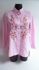 Parisian Embroidered Striped Shirt - Pink & White - Size 10 #9L407