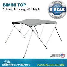 "Bimini Top Boat Cover 46"" High 3 Bow 6' ft. L x 67"" - 72"" W  W/ Rear Poles GRAY"