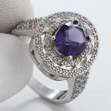 Women fashion jewelry  925 silver  Amethyst CZ wedding ring size 7