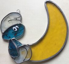 Stain Glass Sun Catcher Smurf on the Moon by Oden Inc