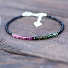 Natural Black Spinel and Watermelon Tourmaline Bracelet Sterling Silver Canada