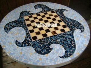 "36"" Antique Marble Chess Dining Table Pietradura Inlay Living Room Decor H4042"