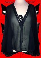 G131✪ Mega Trompetenärmel Tunika Gothic MA Emily mit Schnürung schwarz Gr. 40