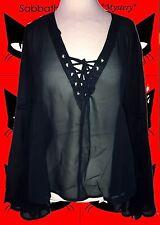 G659✪ Mega Trompetenärmel Tunika Gothic MA Emily mit Schnürung schwarz Gr. 40
