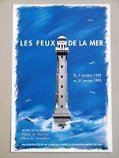 LES FEUX DE LA MER Affiche originale 1992 Musée de la Marine PHARES Jeux Lego