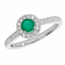 Emerald Cluster Round White Gold Fine Gemstone Rings