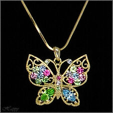 Butterfly Pendant Necklace Austrian Crystal Costume Jewelry Charm Gold / Silver