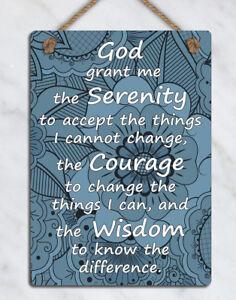metal hanging sign inspirational Serenity prayer quote Blue wall door plaque