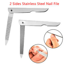2 Sides Nail File Metal Fold Grinding Stainless Steel Manicure Buffer Pedic~^^L8