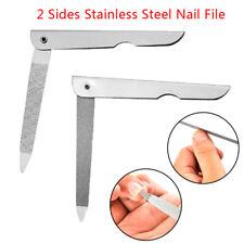 2 Sides Nail File Metal Fold Grinding Stainless Steel Manicure Buffer Pedic LU