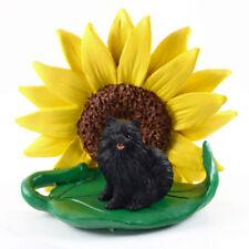 Pomeranian Sunflower Figurine Black